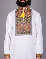 Мужская вышитая сорочка на домотканном полотне в етно-стиле, фото 1