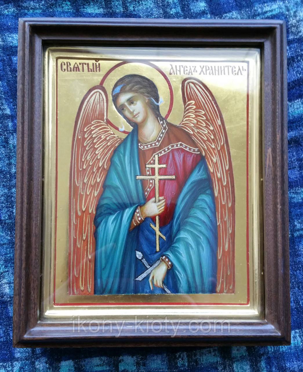 Золочение сусальным золотом миниатюрной иконы Ангела Хранителя и рамочки к ней.