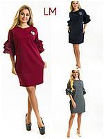 Платье Лейя M,L,XL,XXL летнее нарядное батал большой размер серое бордо черное с воланами двунитка синее