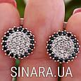 Серебряные серьги с черными камнями - Серьги с черными камнями серебро, фото 4
