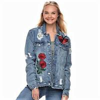 Женская джинсовая куртка с дырками и вышивкой Tinseltown (США) Эксклюзив!!!