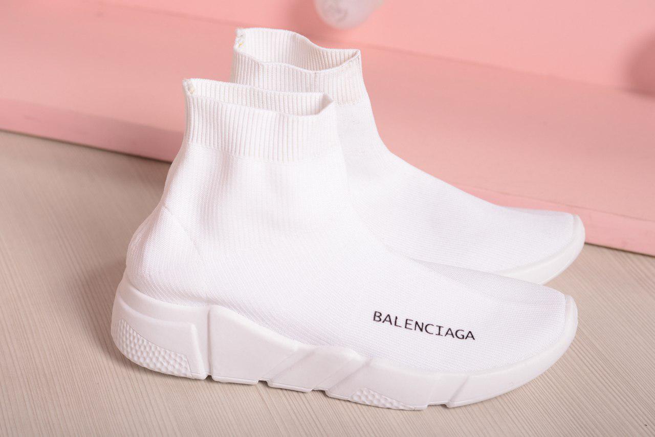 Кроссовки-носочки Balenciaga высокие белые. Аналог