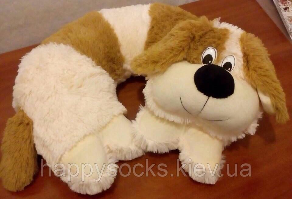 Меховая подушка для шеи декоративная Собака