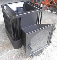 Банная печь со стеклом 30м3 (обрешетка), фото 1