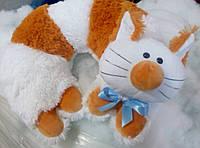 Подушка-рогалик для шеи декоративная меховая Кот