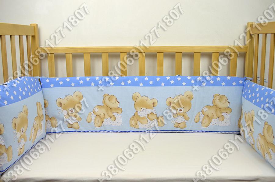 Бортики в детскую кроватку защита со съемными чехлами Мишка подушка голубой