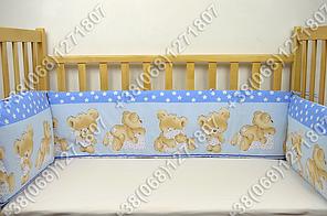 Бортики в детскую кроватку защита со съемными чехлами Мишка подушка голубой, фото 2