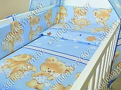 """Детское постельное белье в кроватку """"Карапуз"""" комплект 7 ед. Мишка подушка голубой"""