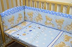 Детское постельное белье и защита (бортик) в детскую кроватку Мишка подушка голубой