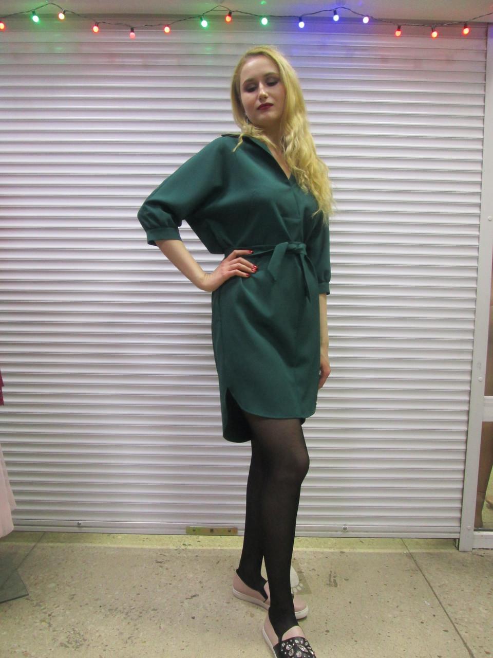 a20fc5f01f4846f Женское Платье-рубашка Под Пояс Темно-зеленого Цвета Р 40 (+6) Хорошее  Качество — в Категории