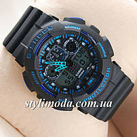 Часы наручные Casio G-Shock GA-100 Black-Black-Blue (реплика)