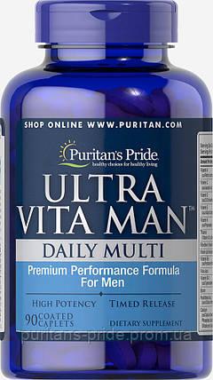 Вітаміни для чоловіків, Puritan's Pride Ultra Vita Man™ Time Release 90 caplets, фото 2