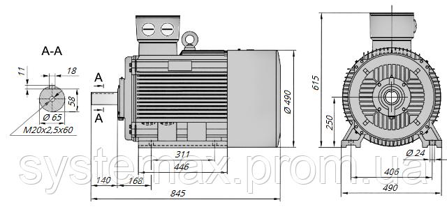 АИР250S2 / АИР 250 S2 / IM 1081 / IM1081 | лапы / лаповый / на лапах / 75 кВт / 3000 об/мин