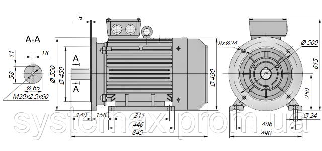 АИР250S2 / АИР 250 S2 / IM 2081 / IM2081 / комб / комбинированный / фланцевый / 75 кВт / 3000 об/мин