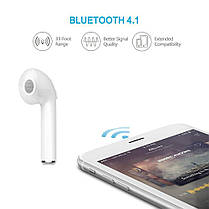 Наушник гарнитура Bluetooth I7 White, фото 3