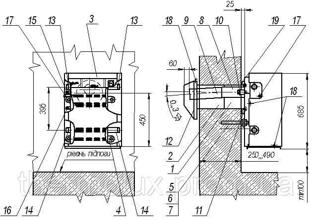 Чертеж установки парпаетного котла Данко с трубой