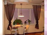 """Готовая Тюль в кухню 3 м """"Юлия"""", шифон коричневый (шоколад)"""
