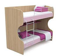 Кровать двухъярусная Кв-12 Акварели розовые