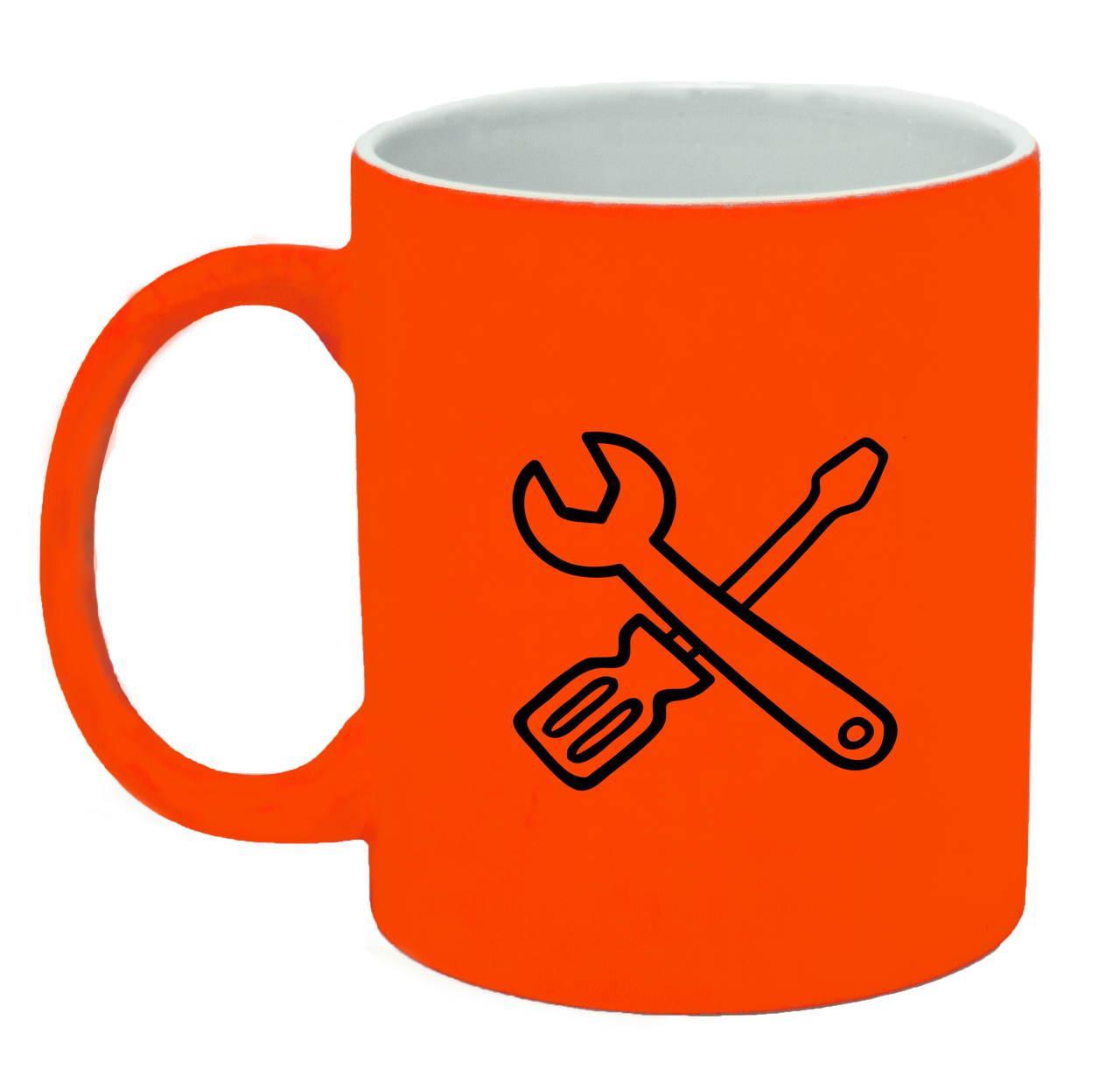 Неоновая матовая чашка Ремонт, ярко-оранжевая