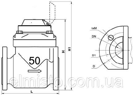 Габаритные размеры водосчетчика Gross WPW-UA 50/200 Ду 50