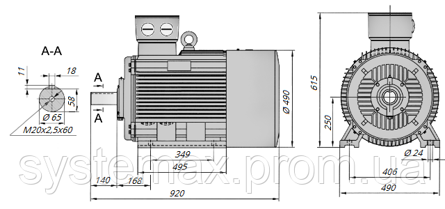 АИР250М2 / АИР 250 М2 / IM 1081 / IM1081 | лапы / лаповый / на лапах / 90 кВт / 3000 об/мин