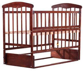 Детская кроватка Наталка Маятник темная с откидным боком