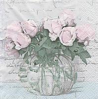 Салфетка декупажная Розы в вазе 7400
