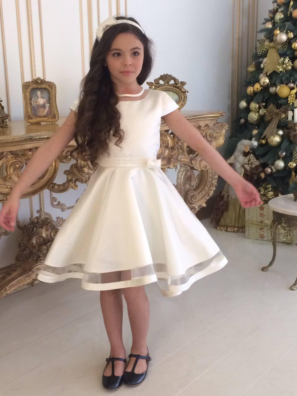 7b332b3a6c7 Платье для девочки нарядное молочного цвета размеры от 5 до 12 лет ...