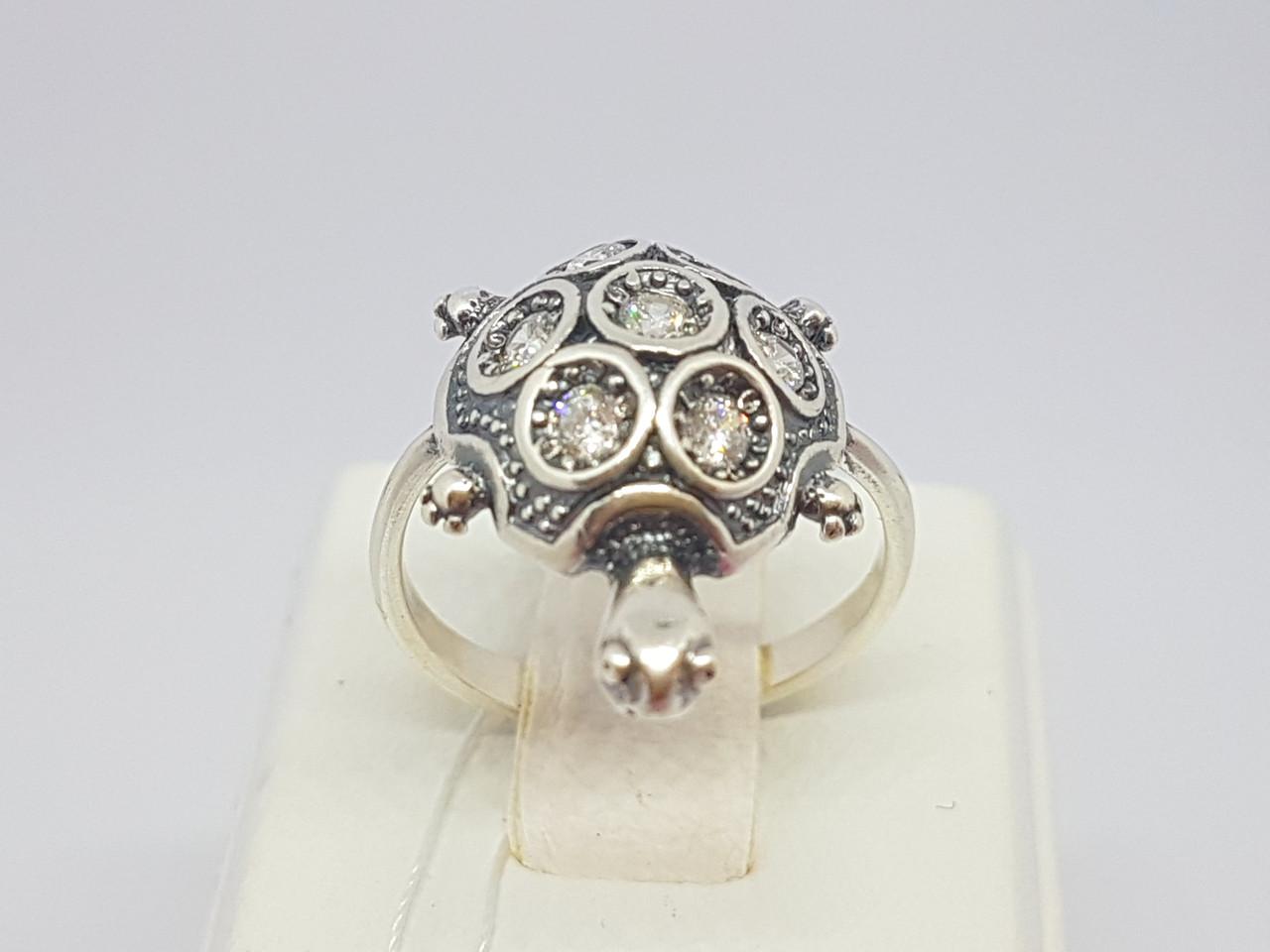 Серебряное кольцо Тортилла с фианитами. Артикул 1206