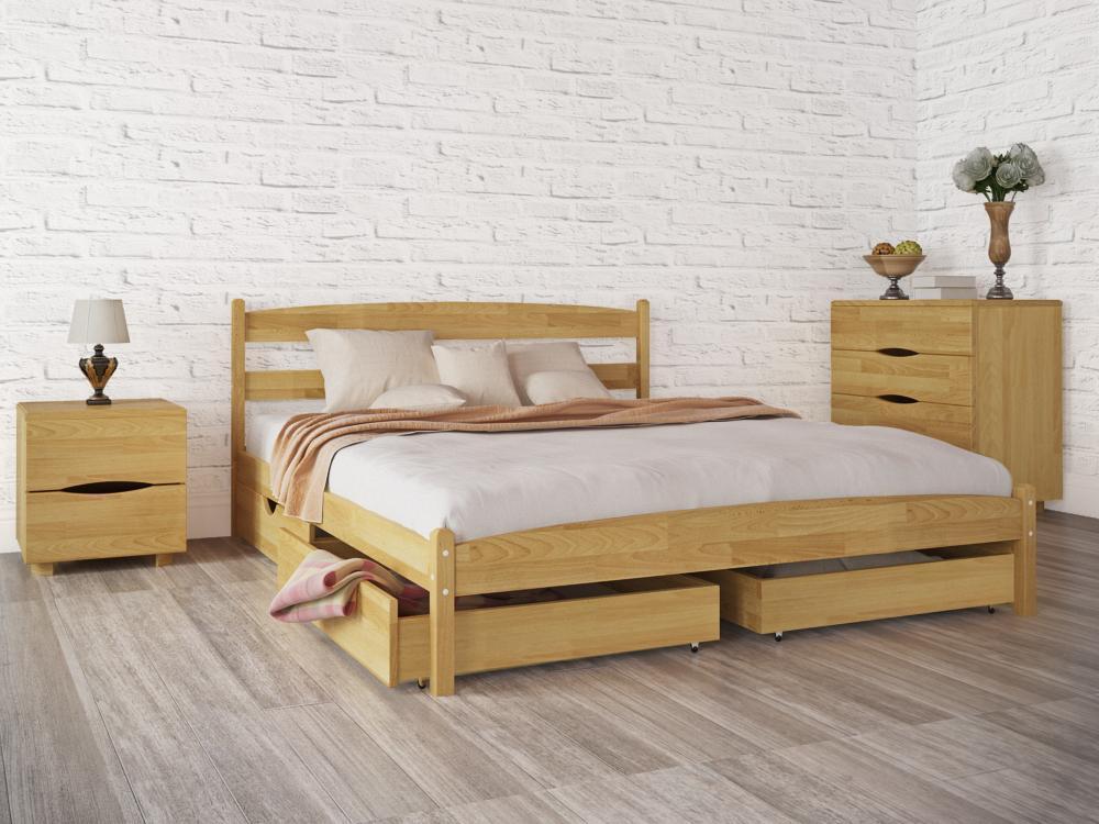 """Деревянная кровать Олимп из бука """"Лика без изножья с ящиками"""""""