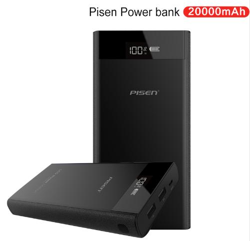 Портативная зарядка PISEN LCD Power Bank 20000 mAh, 2 x USB