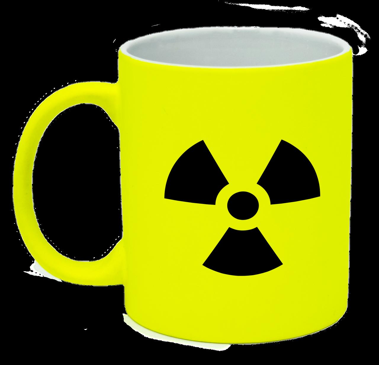 Неоновая матовая чашка Ядерная опасность, ярко-желтая
