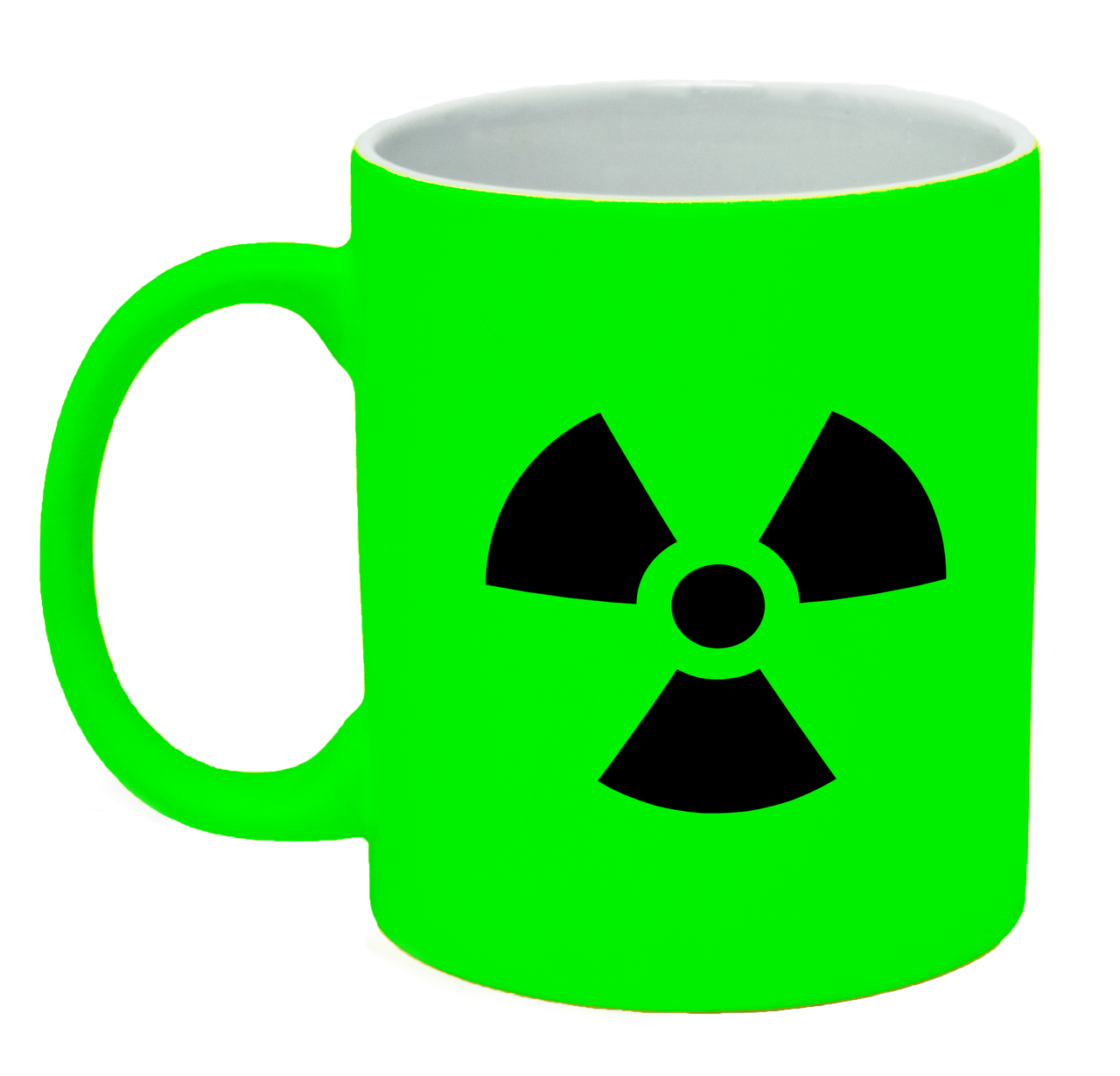 Неоновая матовая чашка Ядерная опасность, ярко-зеленая