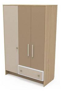 Трехдверный шкаф Кв-03 Акварели коричневые