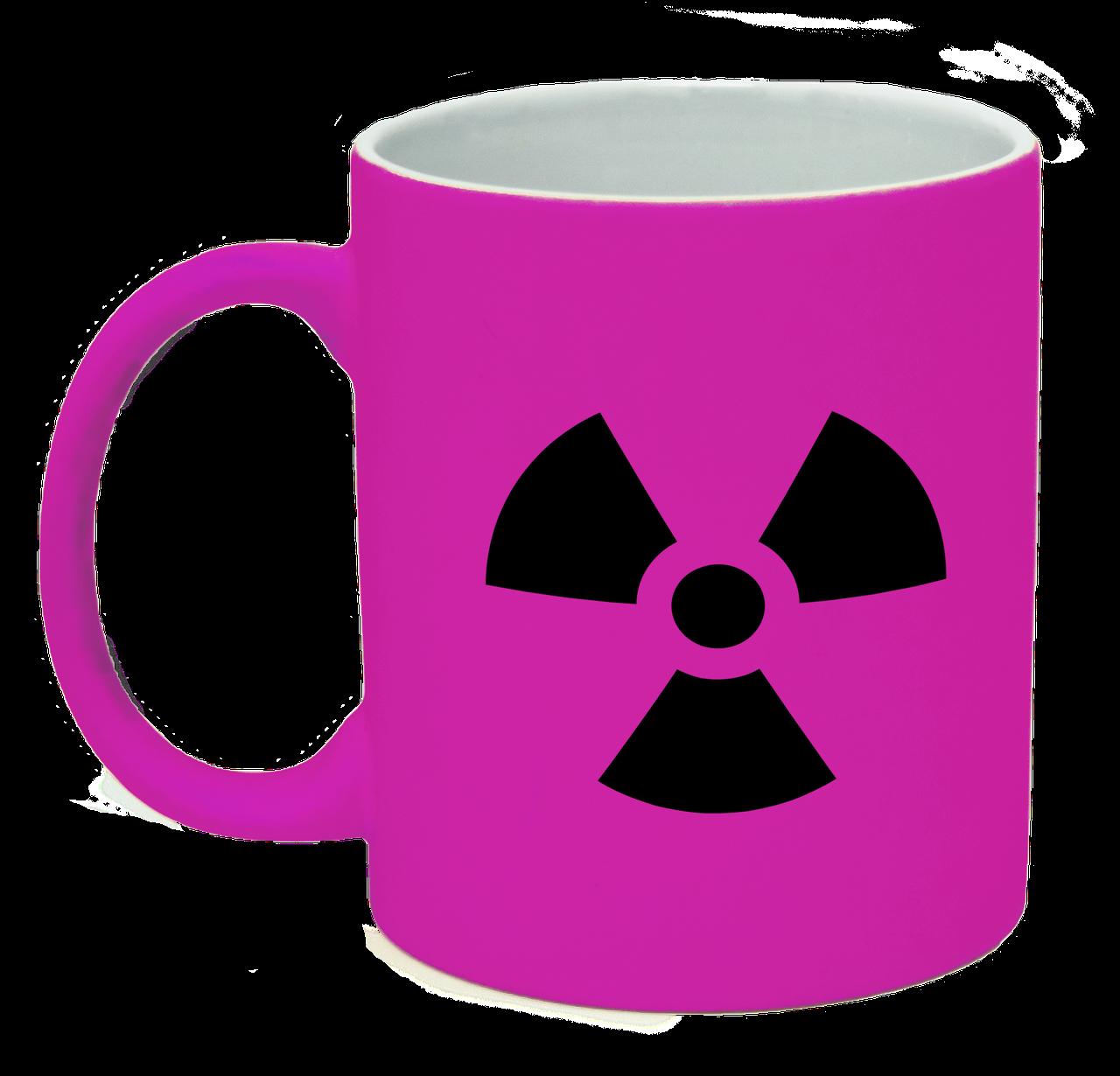 Неоновая матовая чашка Ядерная опасность, ярко-розовая