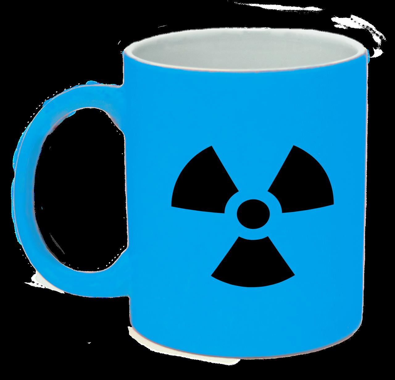 Неоновая матовая чашка Ядерная опасность, ярко-голубая