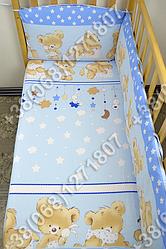 """Детское постельное белье в кроватку """"Бим Бом"""" комплект 7 ед. Мишка подушка голубой"""