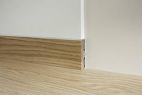 Скрытый плинтус моделирумый в стену Profilpas Metal line 87/6 база+88/16 вставка Дуб