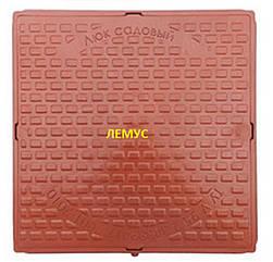 Люк квадратный пластиковый  терракотовый без запорного устройства