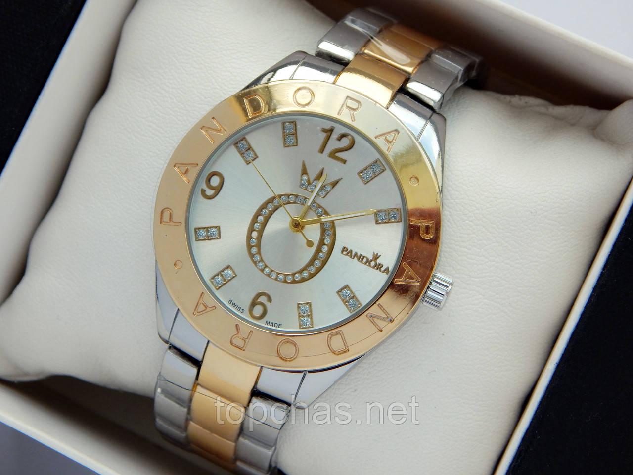 29afd943ae72 Женские часы Pandora комбинированного цвета cо стразами на логотипе ...
