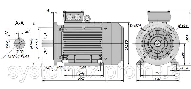 АИР280S2 / АИР 280 S2 / IM 2081 / IM2081 / комб / комбинированный / фланцевый / 110 кВт / 3000 об/мин