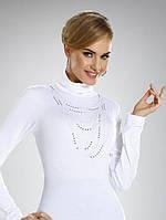 Женская блуза-гольф белого цвета с воротником-стойка Nadina Eldar, коллекция осень-зима 2015.