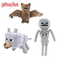 Плюшевые игрушки Майнкрафт комплект игрушек Летучая Мышь, Скелет, Волк мягкие игрушки
