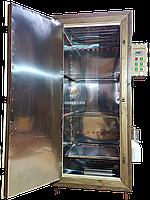 Коптильня 550 л -холодного и горячего копчения, +просушка. Нержавейка внутри, крыша плоская