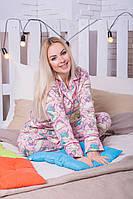 Женская байковая пижама с единорогами П307
