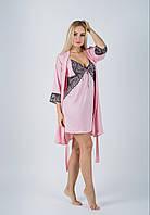 Комплект ночная рубашка + халат MiaNaGreen К412н Розовый