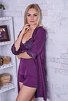 Комплект для дома халат + пижама MiaNaGreen К017п Фиолетовый