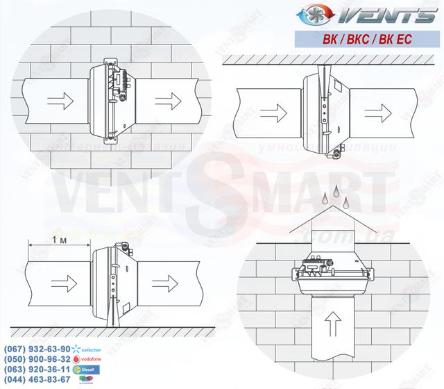 Варианты монтажа канального вентилятора VENTS VK 100