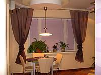 """Готовая Тюль в кухню 5 м """"Юлия"""", шифон коричневый (шоколад)"""