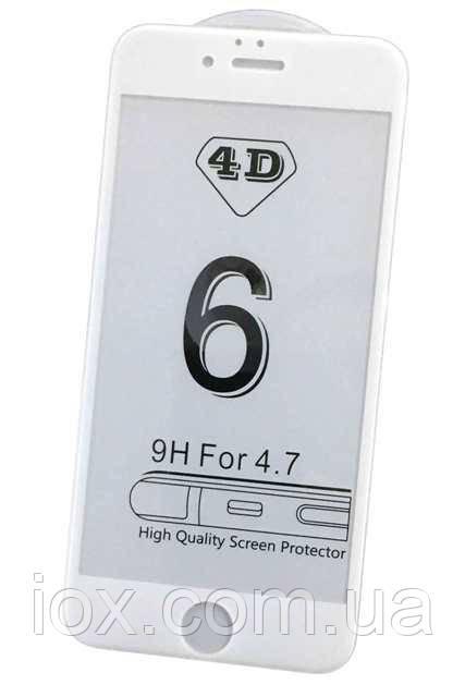 4D защитное противоударное стекло для Iphone 6/6S Белое
